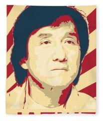 Jackie Chan Retro Propaganda Fleece Blanket