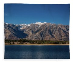 Jackson Lake Wyoming Fleece Blanket