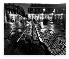 Jackson Square In The Rain Fleece Blanket