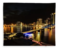 Jacksonville Skyline By Night Fleece Blanket