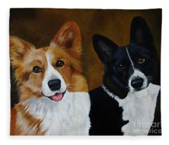 James And Joy Custom Portrait Painting Fleece Blanket