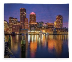 January Sunset At Fan Pier Fleece Blanket