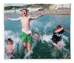 Jetty Jumping Into The Sea Fleece Blanket