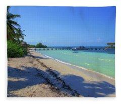 Jetty On Isla Contoy Fleece Blanket
