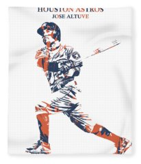 Jose Altuve Houston Astros Pixel Art 27 Fleece Blanket