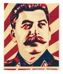 Joseph Stalin Retro Propaganda Fleece Blanket