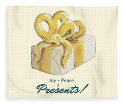 Joy, Peace And Presents Fleece Blanket