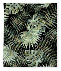 Jungle Dark Tropical Leaves Fleece Blanket