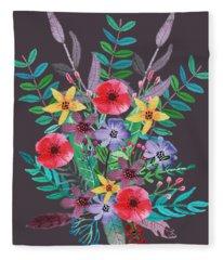 Bright Color Flower Fleece Blankets