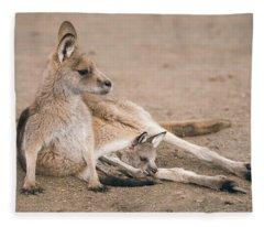 Kangaroo Outside Fleece Blanket