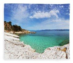 Kanoni Beach In Corfu Island Fleece Blanket