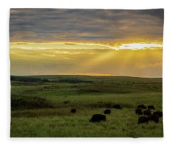 Kansas Flint Hills Sunset Fleece Blanket