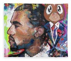 Rapper Kanye West Fleece Blankets