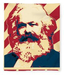 Karl Marx Cccp Retro Propaganda  Fleece Blanket