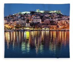 Kavala Town At Night Fleece Blanket