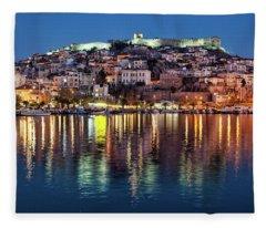 Kavala Town At Night Fleece Blanket