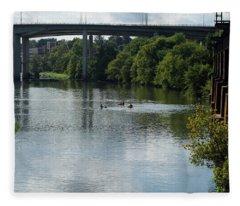 Kayaking On The James River Fleece Blanket