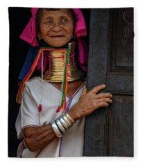 Kayan Lahwi Long Necked Lady Fleece Blanket
