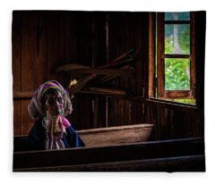 Kayan Woman In Ancient Church Fleece Blanket