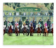 Keeneland Starting Gate Fleece Blanket