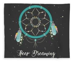 Keep Dreaming - Boho Chic Ethnic Nursery Art Poster Print Fleece Blanket