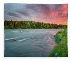 Kenai River Alaska Sunset Fleece Blanket