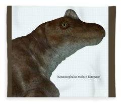 Keratocephalus Dinosaur Head With Font Fleece Blanket