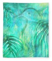 Fleece Blanket featuring the painting Kereru In New Zealand Foliage by Jocelyn Friis