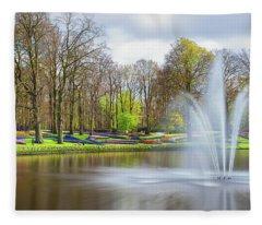 Keukenhof Tulip Garden Holland Fleece Blanket