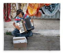 Kid Playing Accordeon Fleece Blanket