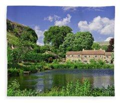 Kilnsey Village, Yorkshire Dales Fleece Blanket