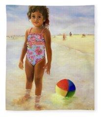 Kira At The Beach  Fleece Blanket