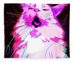 Kitty Yawn Pop Cat Fleece Blanket