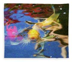 Koi Pond Fish - Friendly Enemies - By Omaste Witkowski Fleece Blanket