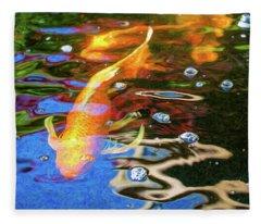 Koi Pond Fish - Golden Abstracts - By Omaste Witkowski Fleece Blanket