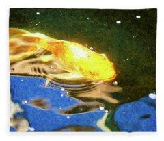Koi Pond Fish - Golden Dreaming - By Omaste Witkowski Fleece Blanket