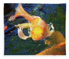 Koi Pond Fish - Golden Surprises - By Omaste Witkowski Fleece Blanket