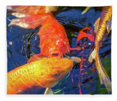 Koi Pond Fish - Kissing Sunshine - By Omaste Witkowski Fleece Blanket
