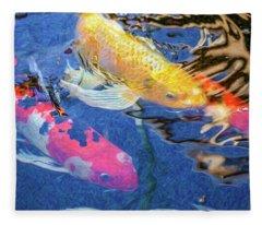 Koi Pond Fish - Making Plans - By Omaste Witkowski Fleece Blanket