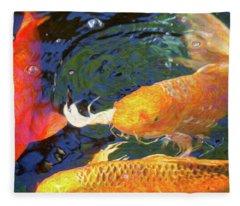 Koi Pond Fish - Making Room - By Omaste Witkowski Fleece Blanket