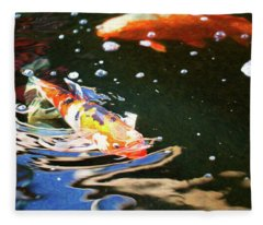 Koi Pond Fish - Making Waves - By Omaste Witkowski Fleece Blanket