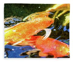 Koi Pond Fish - Passionate Fantasies - By Omaste Witkowski Fleece Blanket