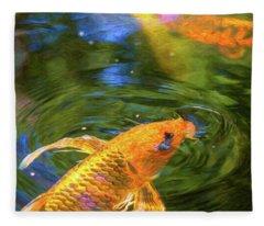 Koi Pond Fish - Turn Me Right Round - By Omaste Witkowski Fleece Blanket