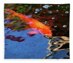 Koi Pond Fish - Vibrant Dreams - By Omaste Witkowski Fleece Blanket