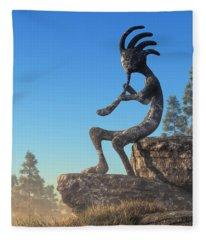 Kokopelli Statue Fleece Blanket