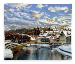 Kronach Winter Scene Fleece Blanket