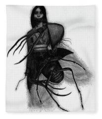 Kuchisake-onna The Slit Mouthed Woman Ghost - Artwork Fleece Blanket