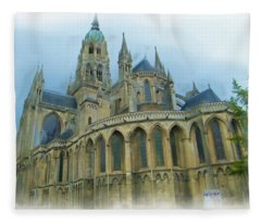 La Cathedrale De Bayeux Fleece Blanket
