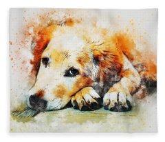 Golden Retriever Holiday Fleece Blanket
