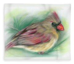 Lady Cardinal In The Pine Fleece Blanket